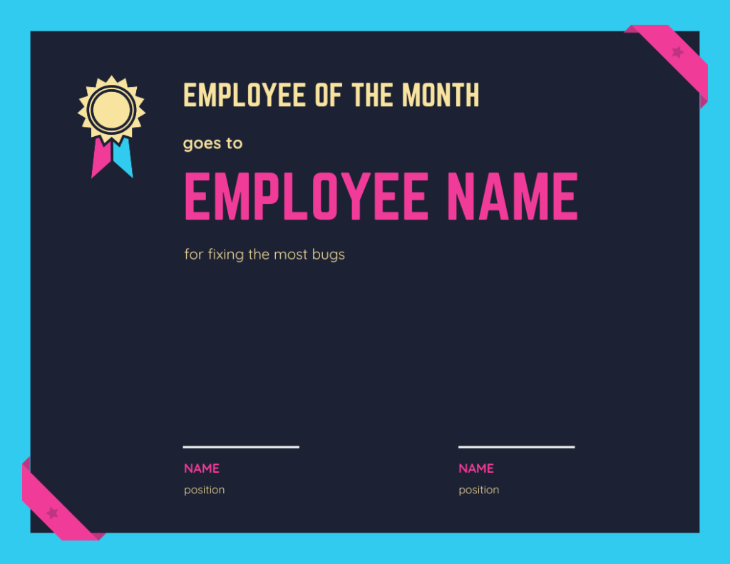employee of the month for most fixed bugs