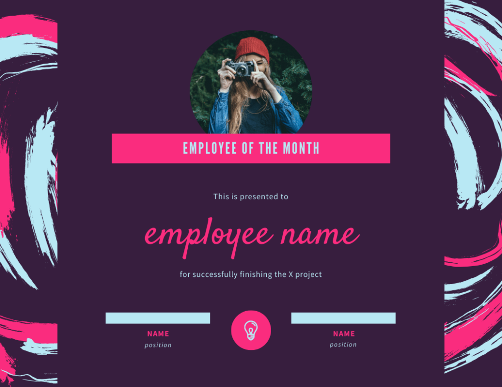 employee of the month template for project completion