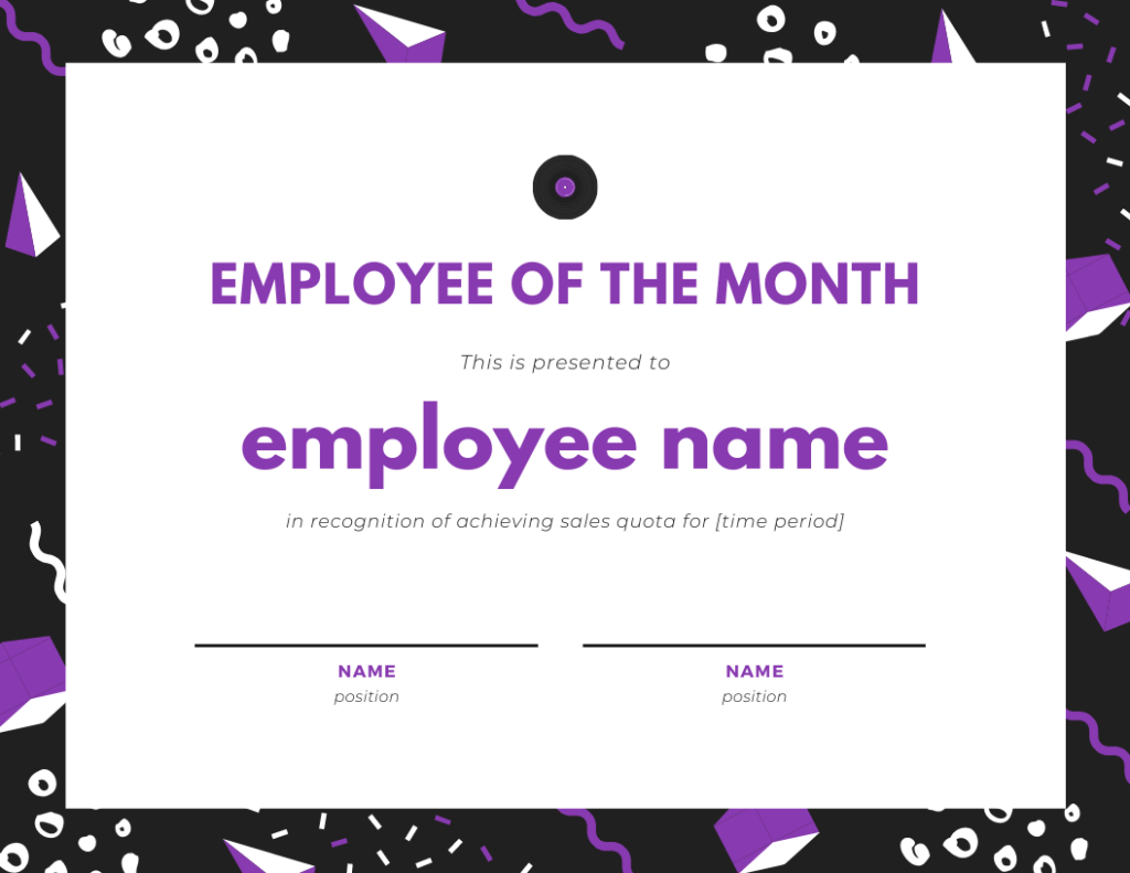 employee of the month template for achieving sales quota