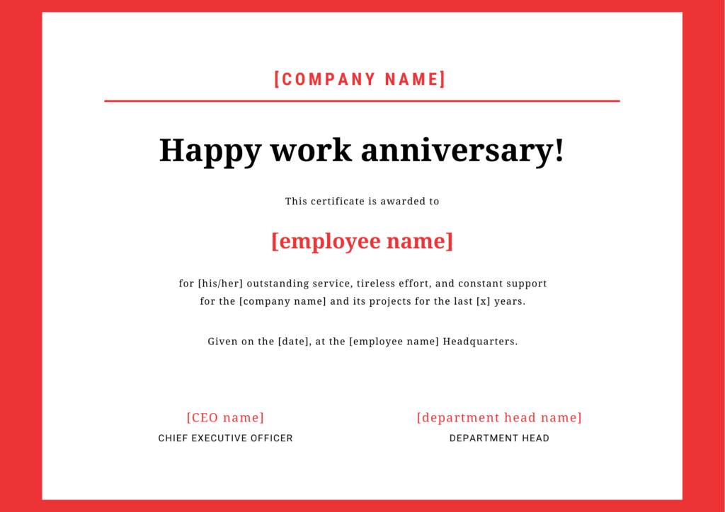 employee anniversary certification