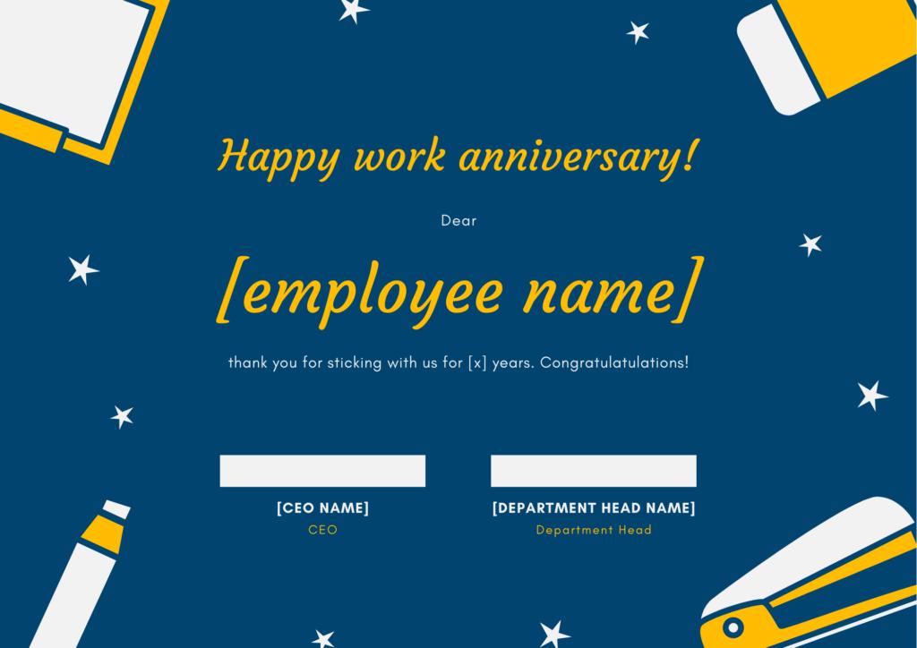 employee work anniversary certification