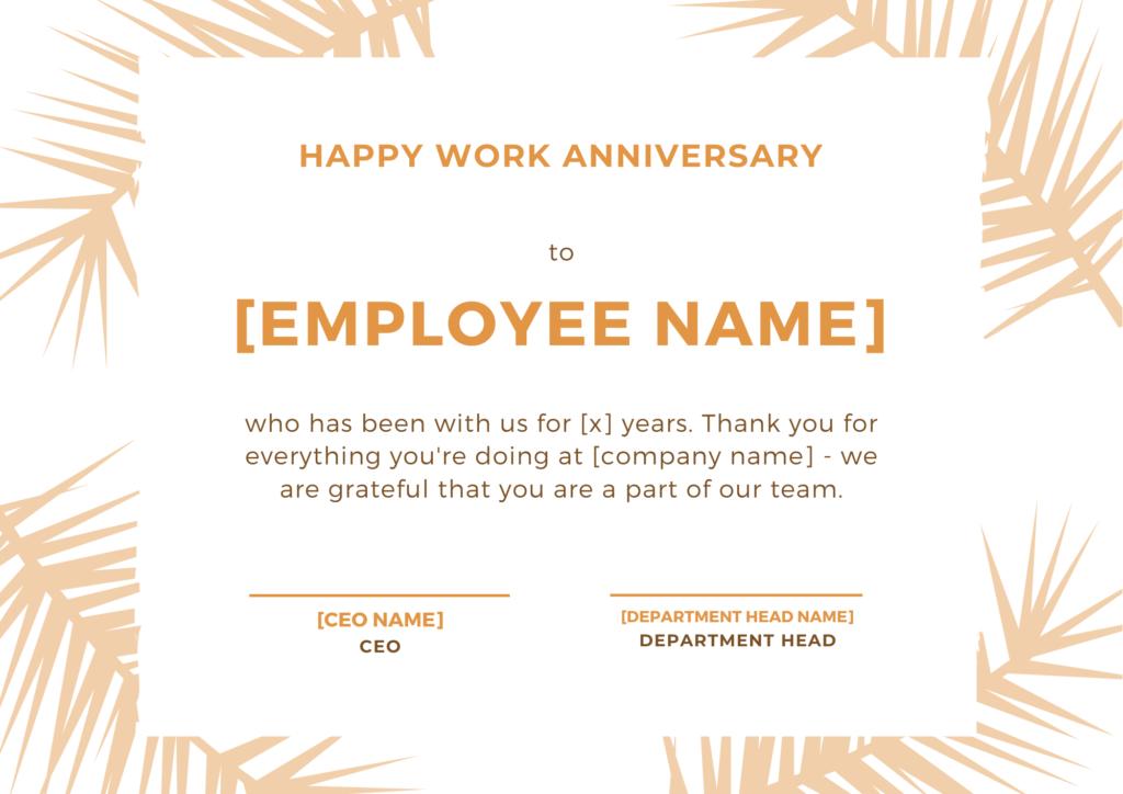 employee anniversary certificate
