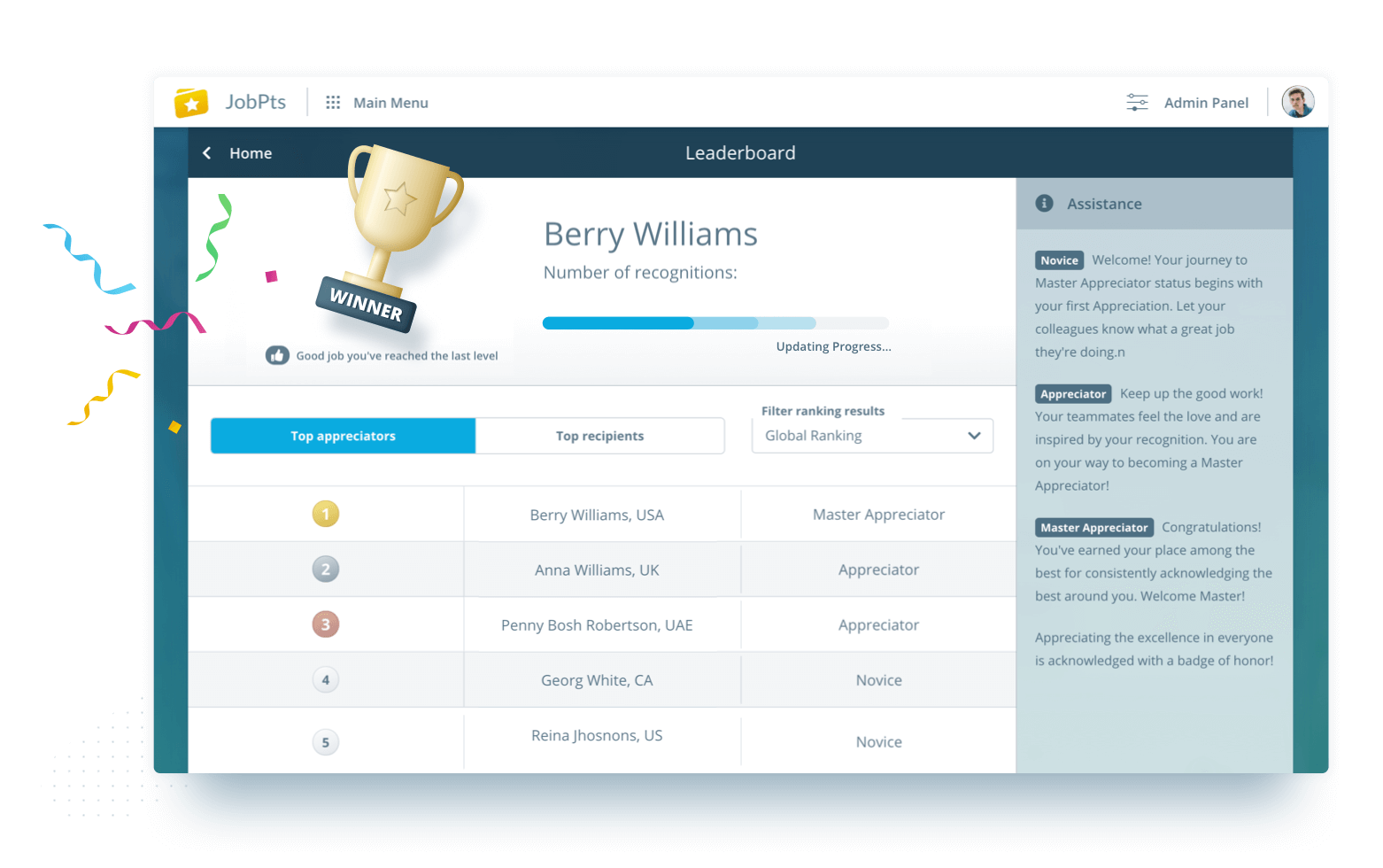 Social employee recognition software JobPts