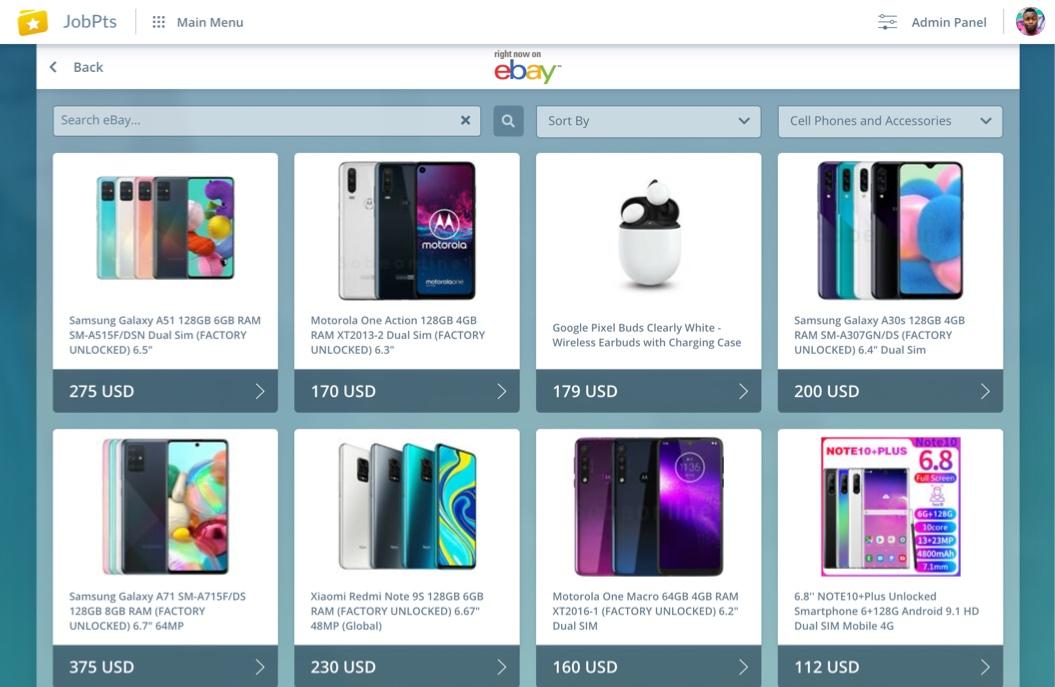 JobPts Merchandise shop employee recognition software