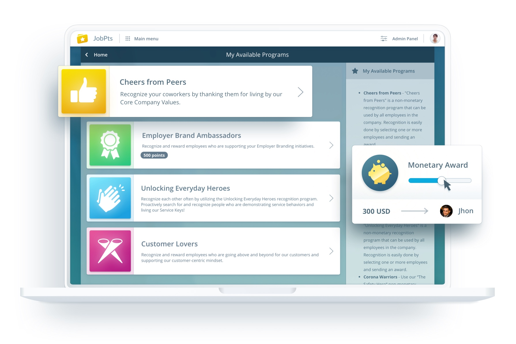 Recognition and Rewards software perfectly tailored to your company
