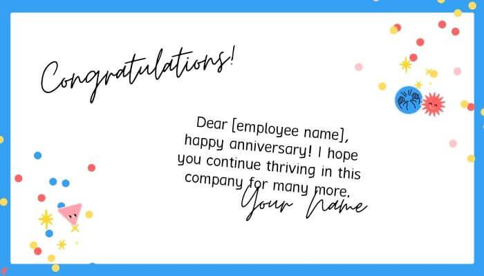 work anniversary card