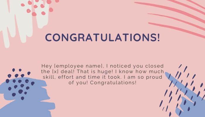 congratulatory employee card